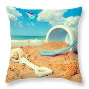 Bucket And Spade On Beach Throw Pillow by Amanda Elwell