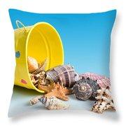 Bucket Of Seashells Still Life Throw Pillow by Tom Mc Nemar