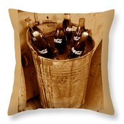 Bucket Of Iced Cold Coca Cola Throw Pillow