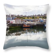 Buckie Harbour Throw Pillow