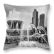 Buckingham Fountain - 1 Bw Throw Pillow