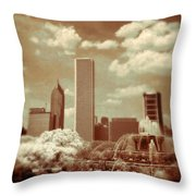 Buckingham Fountain In Chicago Throw Pillow