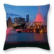 Buckingham Fountain Light Show Throw Pillow