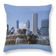 Buckingham Fountain Revisited Throw Pillow