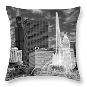 Buckingham Fountain Sears Tower Black And White Throw Pillow