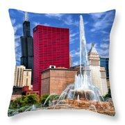 Buckingham Fountain Sears Tower Throw Pillow