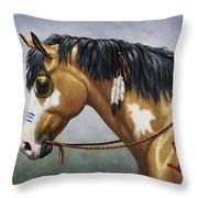 Buckskin Native American War Horse Throw Pillow