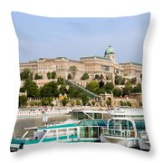 Buda Castle And Boats On Danube River Throw Pillow