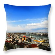 Budapest And Blue Danube Throw Pillow