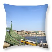 Budapest Cityscape And Liberty Bridge Throw Pillow
