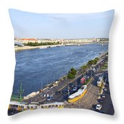Budapest Street Traffic In Hungary Throw Pillow