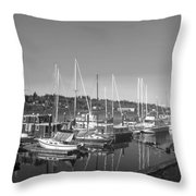 Budd Inlet Olympia Wa B W Throw Pillow
