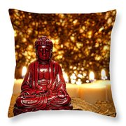 Buddha And Candles Throw Pillow by Olivier Le Queinec