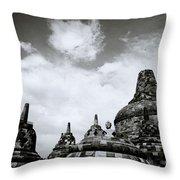 Buddha And Stupas Throw Pillow