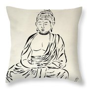 Buddha In Black And White Throw Pillow by Pamela Allegretto