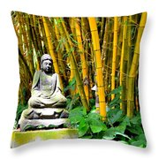 Buddha In The Bamboo Forest Throw Pillow