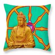 Buddha In The Grove Throw Pillow
