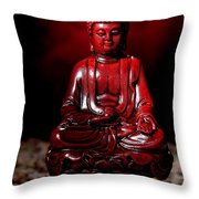 Buddha Statue Figurine Throw Pillow by Olivier Le Queinec