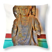 Ancient Buddha Statue - Albert Hall - Jaipur India Throw Pillow