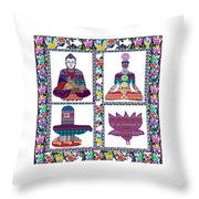 Buddha Yoga Chakra Lotus Shivalinga Meditation Navin Joshi Rights Managed Images Graphic Design Is A Throw Pillow by Navin Joshi