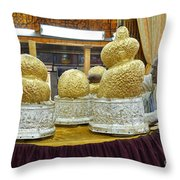Buddha Figures With Thick Layer Of Gold Leaf In Phaung Daw U Pagoda Myanmar Throw Pillow