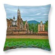 Buddhas At Wat Mahathat In 13th Century Sukhothai Historical Park-thailand Throw Pillow