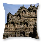 Buddhas Of Borobudur Throw Pillow