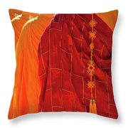 Buddhist Monks Throw Pillow by Rick Piper Photography