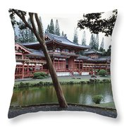 Buddhist Temple, Byodo-in Temple Throw Pillow