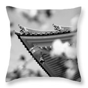 Buddhist Temple In Black And White - Roof Tile Details Throw Pillow