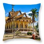 Buddhist Temple In Kratje - Cambodia Throw Pillow