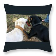 Buddies Sharing Throw Pillow