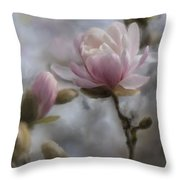 Budding Magnolia Branch Throw Pillow