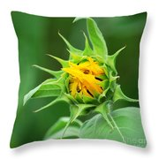 Budding Sunflower Throw Pillow