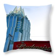 Budweiser And Building  Throw Pillow