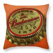 Budweiser Cap Throw Pillow by Tony Rubino