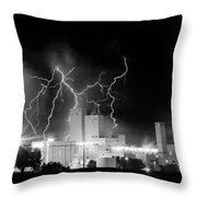 Budweiser Lightning Thunderstorm Moving Out Bw Pano Throw Pillow