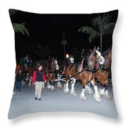 Budwiser Clidsdale Horses Throw Pillow