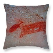 Buffalo And Elk Cave Painting Throw Pillow