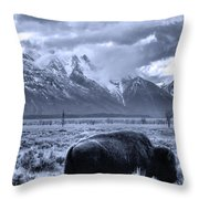 Buffalo And Mountain In Jackson Hole Throw Pillow