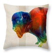 Buffalo Animal Print - Wild Bill - By Sharon Cummings Throw Pillow