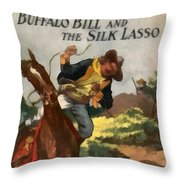 Buffalo Bill And The Silk Lasso Throw Pillow by Dime Novel Collection