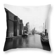 Buffalo Canal Harbor Throw Pillow