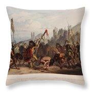 Buffalo Dance Of The Mandan Indians Throw Pillow
