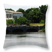 Buffalo History Museum And Delaware Park Hoyt Lake Oil Painting Effect. Throw Pillow