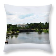 Buffalo History Museum And Delaware Park Hoyt Lake Oil Painting Effect Throw Pillow