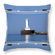 Buffalo New York Outer Breakwater Lighthouse Throw Pillow