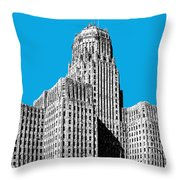 Buffalo New York Skyline 1 - Ice Blue Throw Pillow