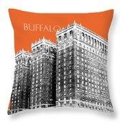 Buffalo New York Skyline 2 - Coral Throw Pillow