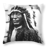 Buffalo Nickel Portrait Throw Pillow by Underwood Archives